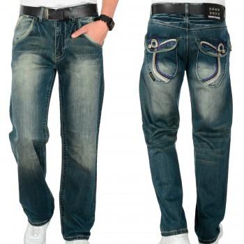 Hoodboyz BASIC Pan Loose Fit Jeans niebieski